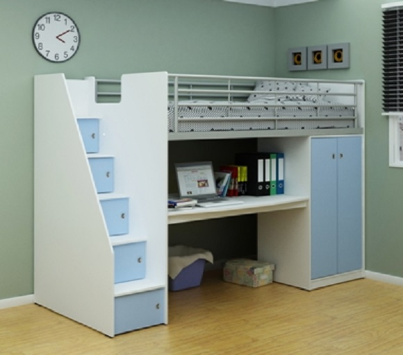 White and Blue Cabin Bed Frame