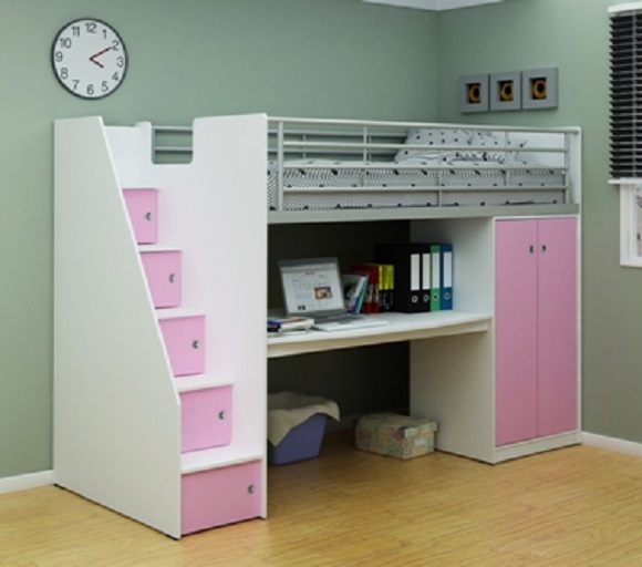 White and Pink Cabin Bed